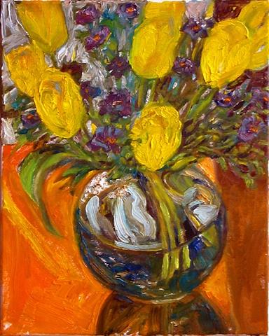 Yellow Tulips in the window