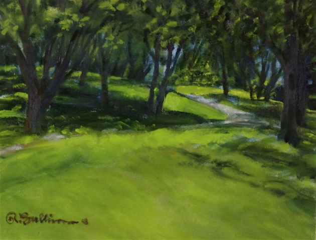 White Rock Path through shady grove