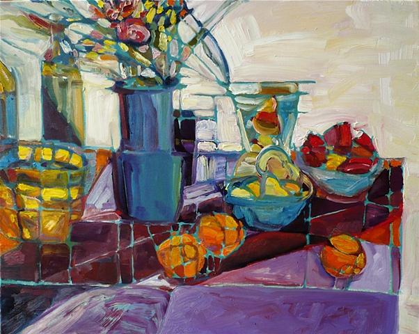 Purple cloth, blue vase, bright fruit & flowers