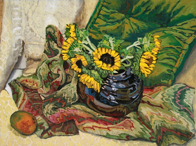 Sunflowers/black vase