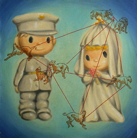 wedding couple oil on canvas by michael paulus