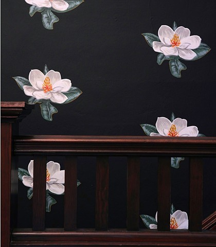 magnolias painted by michael paulus casework design