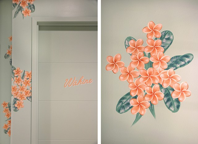 50 unique and stylized, hand-painted, Hawaiian Plumeria groupings.