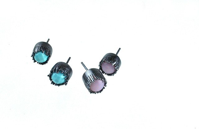 Pink Opal or Turquoise fringe studs