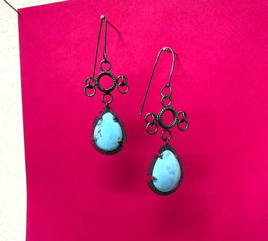 Superstition Earrings with Golden Hills turquoise