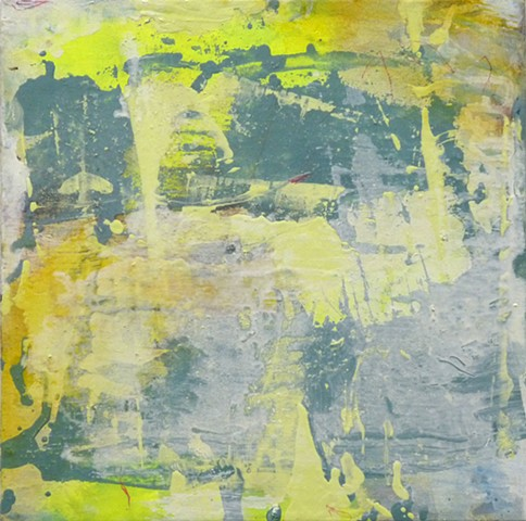 yellow abstract poured blotted and scraped golds gray-greens