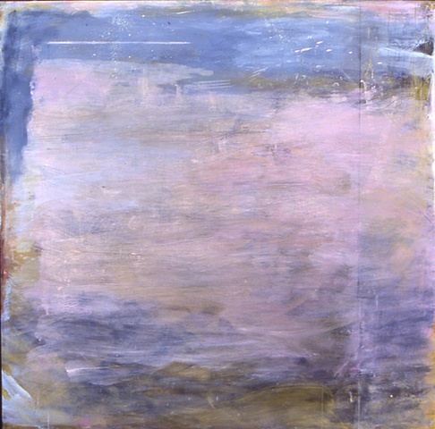 abstract square floating oil painting pale pinks whites grays