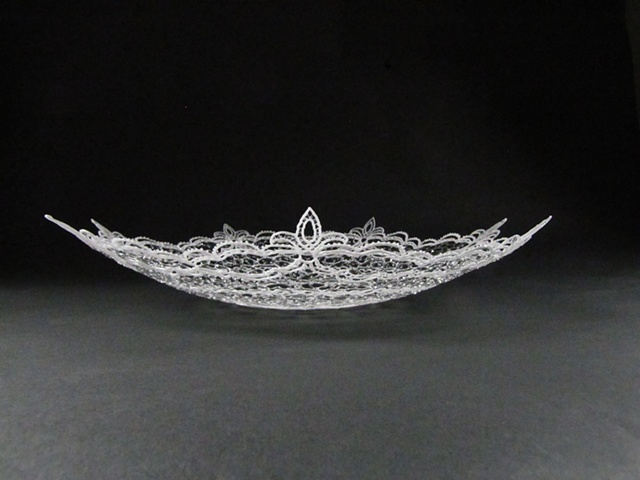 Lisa Demagall, Flameworking, lampworking, lace, glass lace, domestic, feminine, spoon, glass, art, sculpture