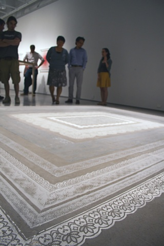 Lisa Demagall, Dust, installation, lace, rug, sculpture, ephemera, plaster, charcoal, domestic, art