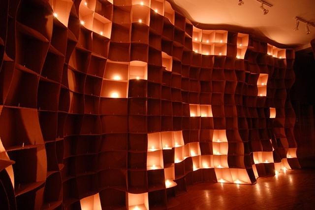 Lisa Demagall, material matters, cardboard, candle, flame, sculpture, installation, art