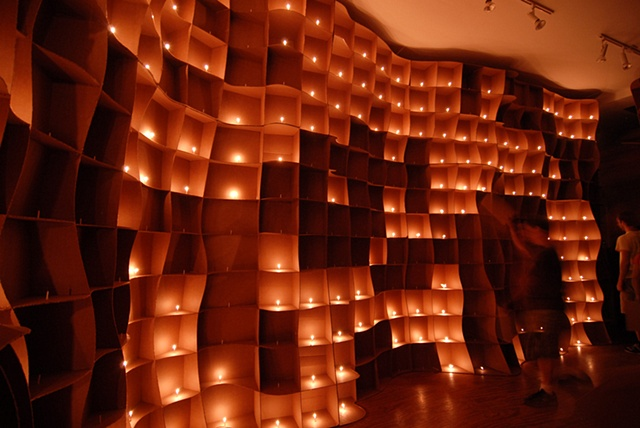 Lisa Demagall, material matters, cardboard, candle, flame, sculpture, installation, art