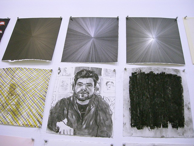 Michelle Grabner (too high to photograph--gold point, graphite, silver point), Deborah Boardman, Mario Romano