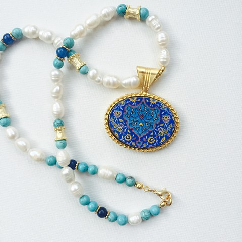 freshwater pearl necklace, turquoise, blue and white, blue mosaic necklace, large gold plate pendant