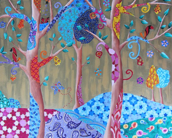 A forrest in Spring with birds painted in acrylic. Colorful image with patterns.