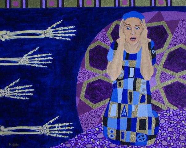 nightmare, acrylic painting, purple, ornament