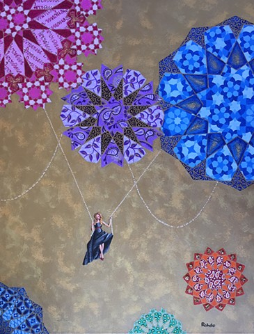 painting of woman on a swing, colorful patterns, gold background, black dress, pearl strings, arabesque