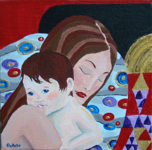 mother and child, baby, acrylic painting
