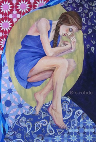 painting of girl dreaming in a swirl of patterns, sleeping woman, purple and gold