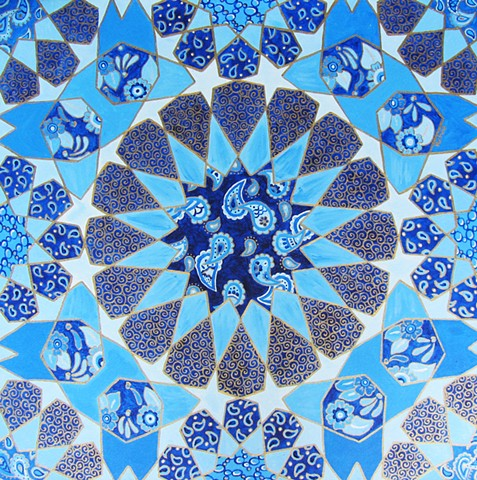 acrylic painting of blue middle eastern pattern.