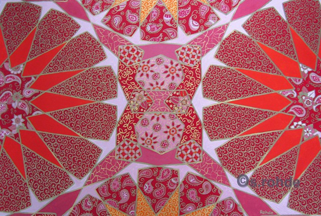middle eastern patterns in pink and orange.