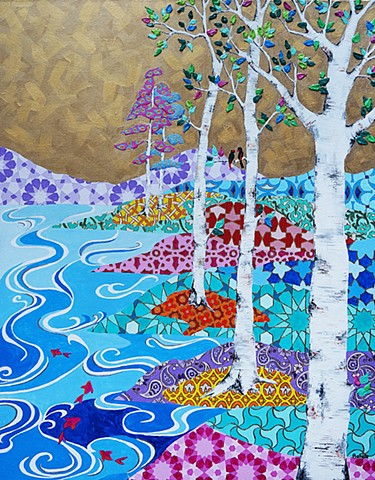 acrylic painting, birch trees, gold background, landscape, koi, goldfish, river, colorful painting