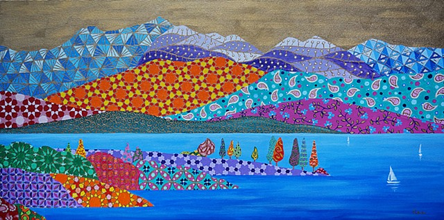 lake painting, landscape painting, colorful patterns, gold sky, sailboat painting, bodensee,