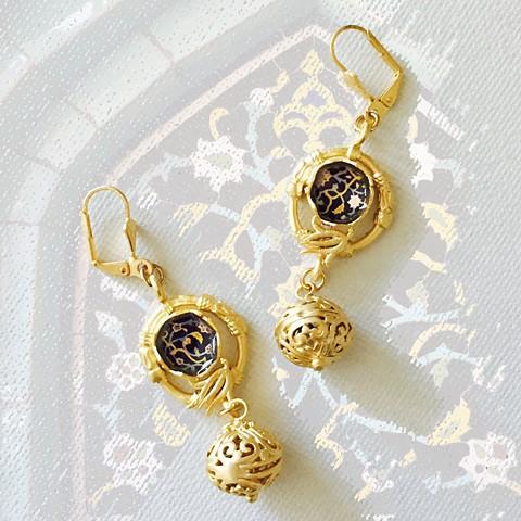 gold earrings, gold filigree earrings, persian mosaic, elegant jewelry, black and gold earrings