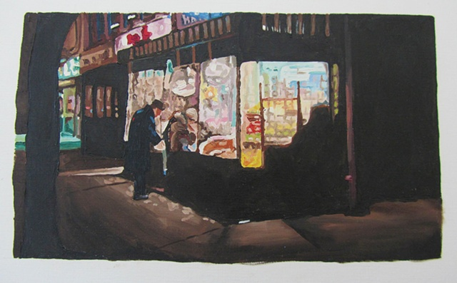 night scene - New York deli