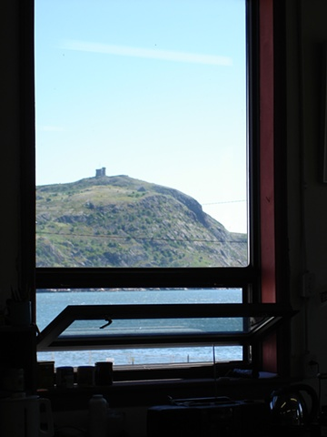 View of Signal Hill from studio window