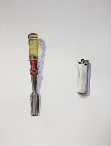 Belongings (chisel and lighter)