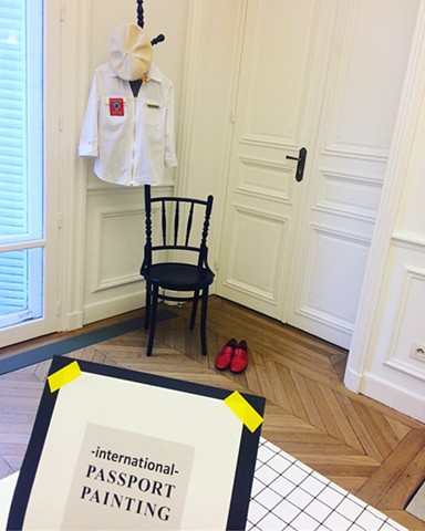 Passport painting officer costume -Installation at Atelier Néerlandais, Paris, France