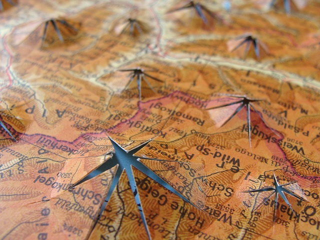 map collage titled Vents from the Uncharted Series for the exhibition Aggregate at the ICA (MECA) in September 2009 by Shannon Rankin