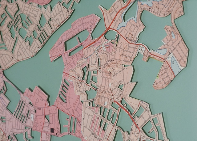 map collage made with city maps titled Colony for the exhibition Fathom at the CMCA in May 2011 by Shannon Rankin