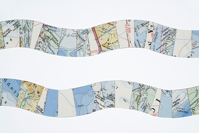 map collage made with polar region maps titled Interval for the exhibition Fathom at the CMCA in May 2011 by Shannon Rankin