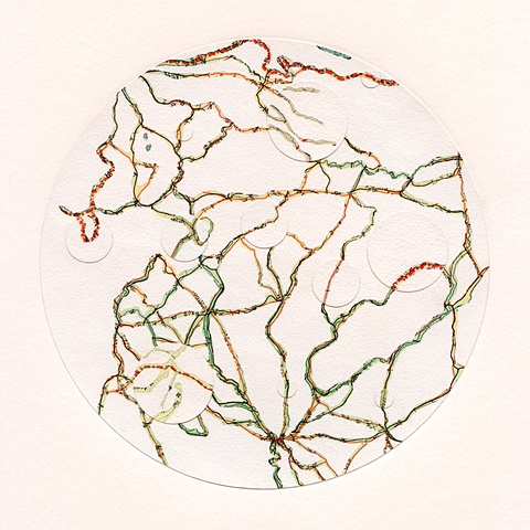 map collage made with maps and acrylic from the Transplant Series by Shannon Rankin