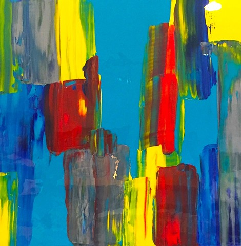 original, painting, abstract, blue, white, metallic, yellow, red, colorful