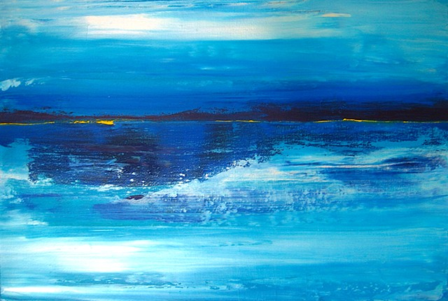 white, blue, abstract, painting, peaceful, horizontal, original