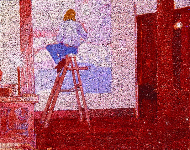 Oil on Canvas Self-Portrait on Step-Ladder