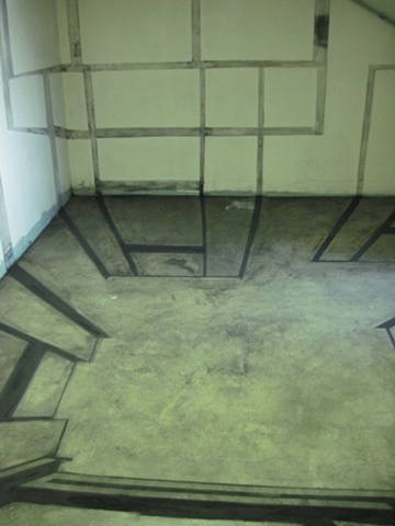Room 2: Charcoal Floor/Wall Drawing