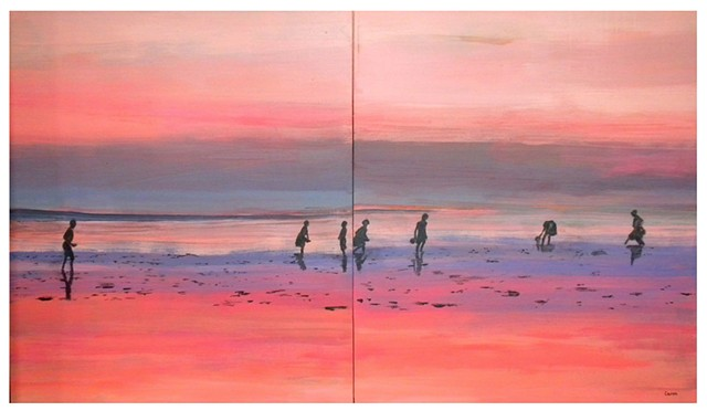Scanning for Seashells at Sunset (diptych)