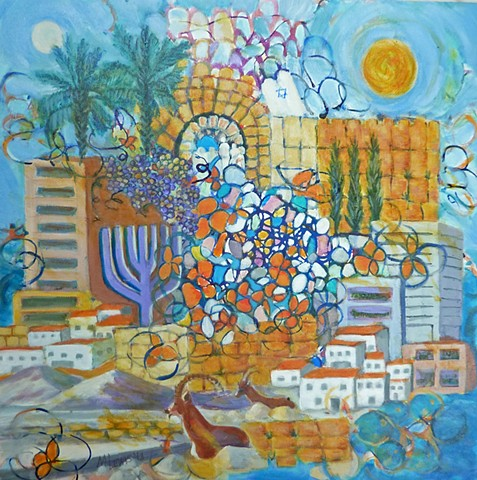 Depicts the energy and flowering of Israel, the land and people.