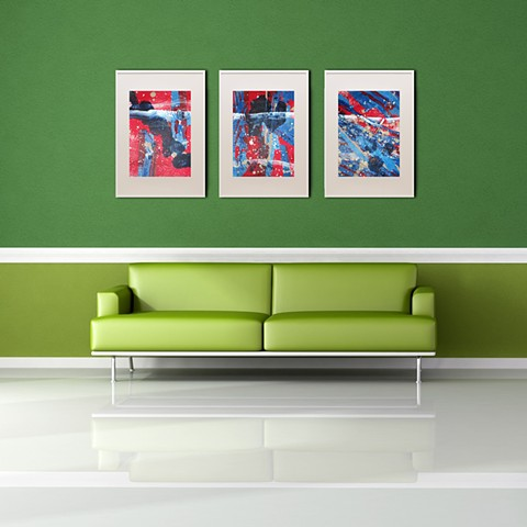 Red Abstract 1,2 and 3 Framed