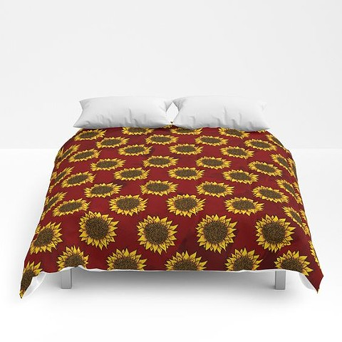 Red Sunflowers Comforter