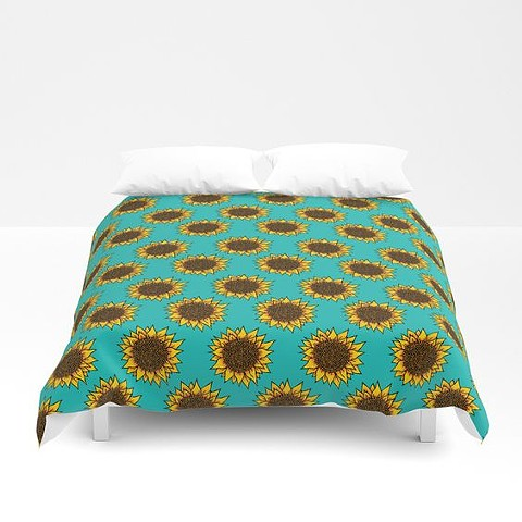 Aqua Sunflower Comforter