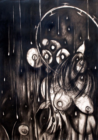 charcoal, drawing, contemporary, abstraction, breasts, mothers