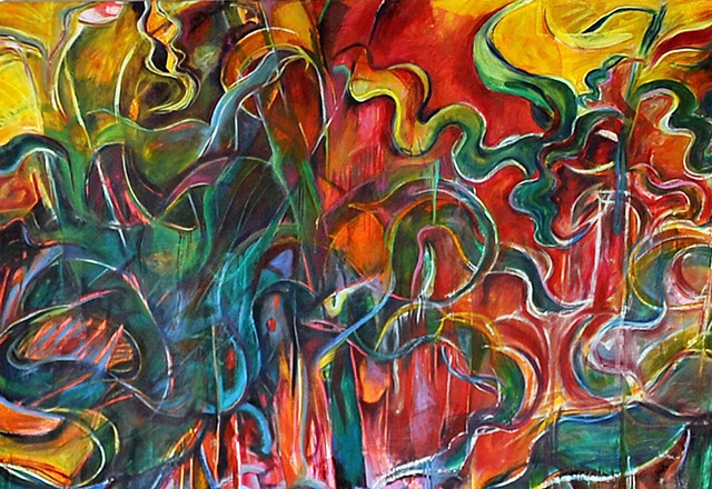 Public art, mural, oil on canvas, Mexico, corn, abstraction, painting, large