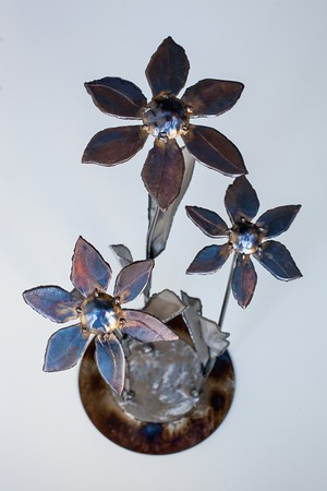 Corten steel flowers top view