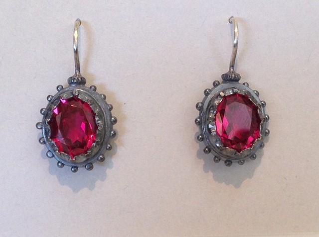 Georgian Lab Grown Ruby Earrings