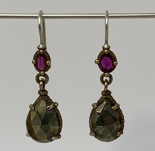 Ruby and Pyrite Trembling Earrings