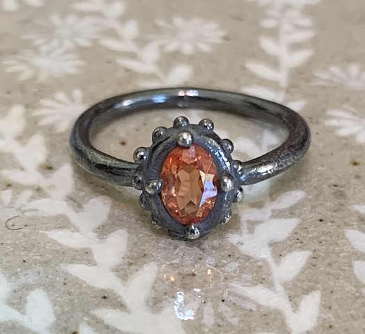Dotted Ring with Orange Stone